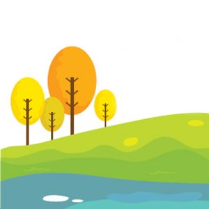 Illustration of four small trees on a hill by pond