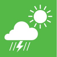 Icon of a cloud with lightning and rain and sun representing weather